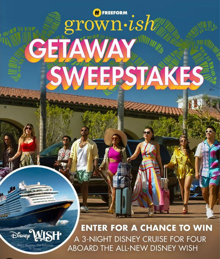 Enter for your chance to win a cruise to the Bahamas aboard the Disney Wish with a stay at the Walt Disney World Resort. Enter Freeform's Grown-ish Disney Cruise Getaway Sweepstakes for your chance to win!