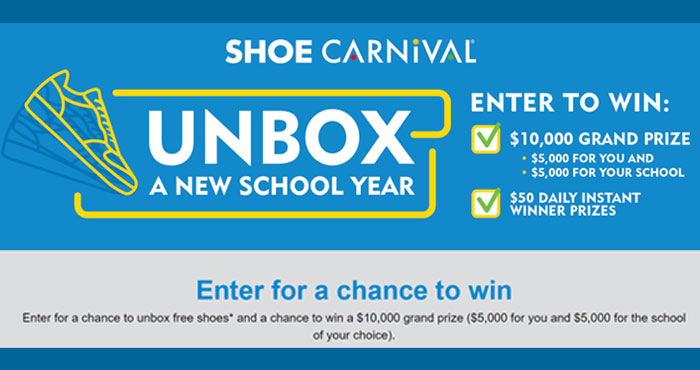 Shoe Carnival is giving away $50 Shoe Carnival Gift Cards daily and one grand prize winner will win $5,000 and $5,000 for the school you choose. Play the Shoe Carnival Unbox A New School Year Instant Win Game daily for your chance to win.