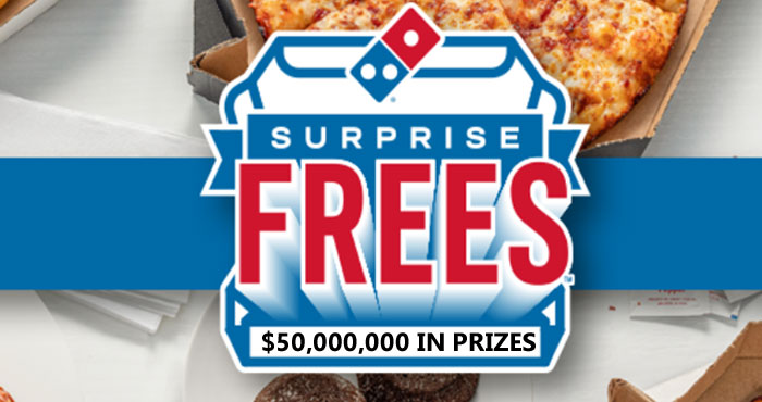 Domino's is giving away $50 million in surprise frees, like free pizza, lava cakes and stuffed cheesy bread. To get started, place an order online or in the domino's app.