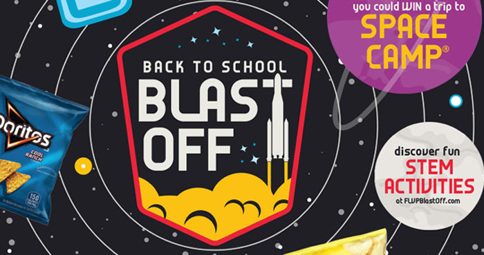 Enter Frito-Lay's Back to School Blast-Off Sweepstakes daily for a chance to win a trip to U.S. Space and Rocket Center in Huntsville, Alabama.