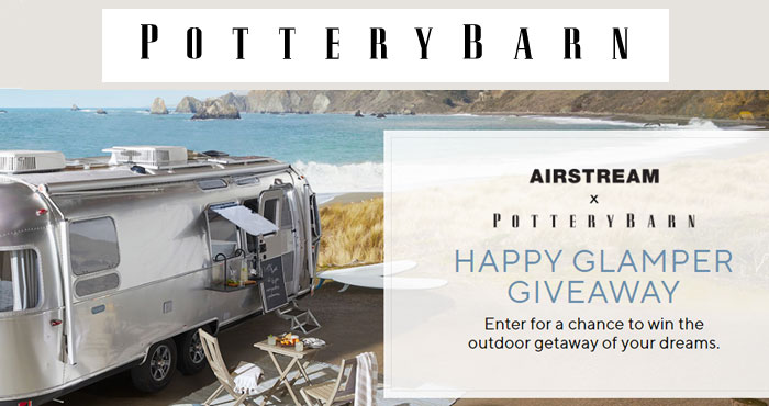 Enter the Pottery Barn The Happy Glamper Sweepstakes for your chance to win the outdoor getaway of your dreams with up to 4 nights in the Pottery Barn Special Edition Travel Trailer at Caravan Outpost in Ojai, California!