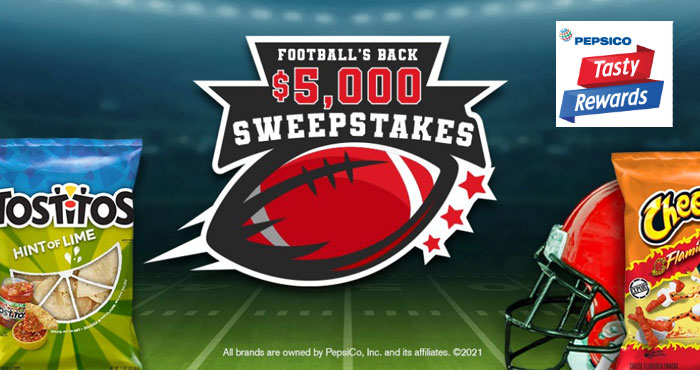 Enter for your chance to win $5,000 awarded in the form of a check when you enter the Tasty Rewards Football's Back Sweepstakes. You can enter daily through September 4th #giveaway