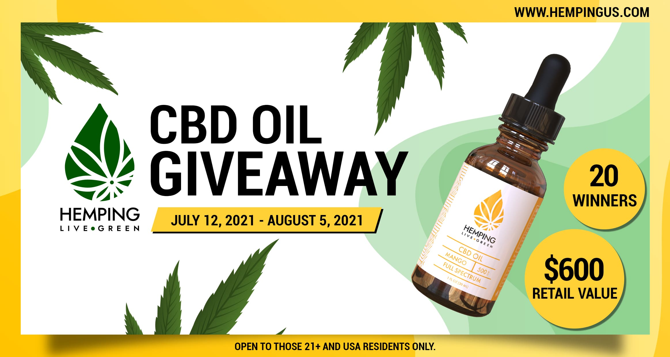 Enter for your chance to win Full Spectrum CBD oil 500mg (Mango) worth $30. A total of 20 winners will be selected. The full spectrum CBD Oil is all-natural, 100% vegan, and non GMO, making it perfect for your wellness.