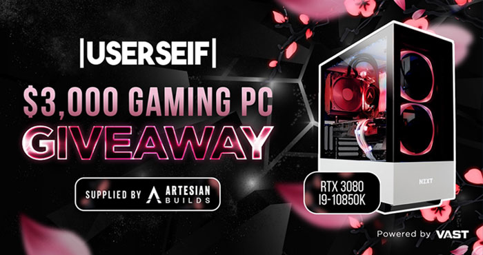 UserSeif is excited to announce this $3,000 RTX 3080 Gaming PC giveaway. Enter daily for your chance to win. One winner will be drawn at the end of August and notified via email to claim their prize and also announced on Twitter