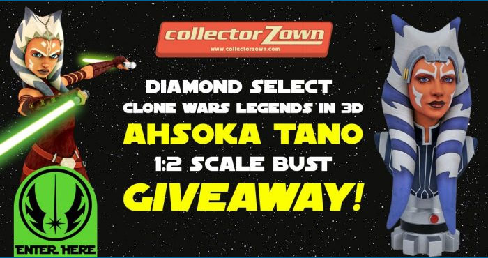 Enter for your chance to wina Diamond Select Star Wars Clone Wars Legends In 3D Ahsoka Tano 1:2 Scale Bust valued at $165 before you can buy it!