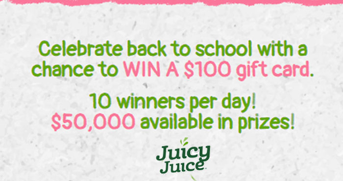 10 Winners per day! $50,000 available in prizes! Celebrate back to school with a chance to WIN A $100 gift card from Juicy Juice. Every day from August 4th - September 22nd, ten people will win a $100 gift card. Fill out the form below for a chance to win. You can enter this sweepstakes every day for more chances to win!