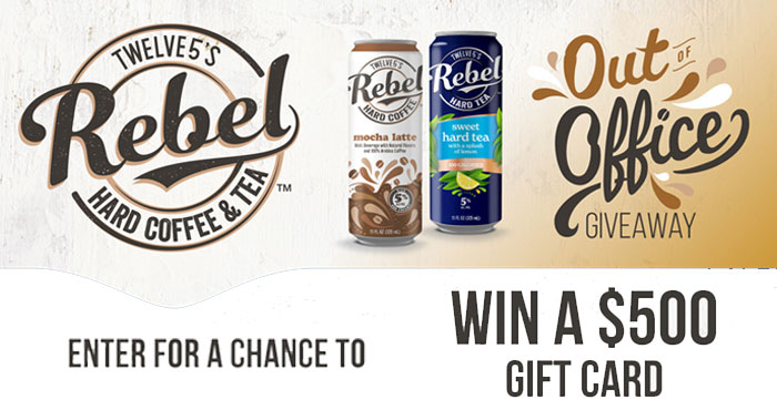 Enter the Rebel Out Of Office Sweepstakes for your chance to win a $500 gift card or one of over 150 other Rebel branded prizes including coolers and koozies.