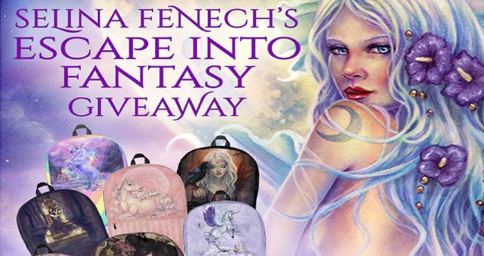 One lucky winner will receive a backpack and mug in the design of their choice from artist and fantasy author Selina Fenech's website! During her life Selina has found ancient Roman treasure, survived cancer, had knights joust at her wedding, earned a living from her art by age twenty-three, eaten every bizarre and wonderful food put in front of her, written numerous novels and painted hundreds of artworks.
