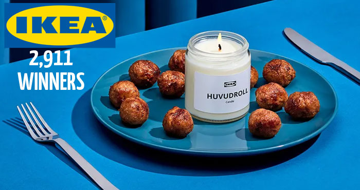 Join the IKEA Family Program for Free and enter for your chance to win one of 986 limited-edition IKEA Store in a Box or PLUS 1,925 other winners will receive a HUVUDROLL meatball scented candle. It's your lucky day now go and enter to win!