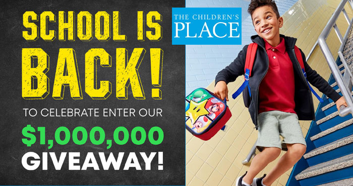 """The Children's Place is going back to school with a $1 Million """"School Is Back"""" Giveaway and a $1 Million Back-to-School Product Donation to Baby2Baby. One thousand winners will each win a $1,000 VISA prepaid gift card"""