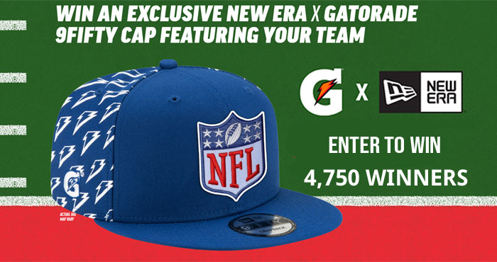 Play the Gatorade NFL Hat Instant Win Game daily for your chance to win an exclusive New Era X Gatorade 9Fifty cap featuring your favorite NFL team
