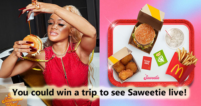 """McDonald's is giving #Saweetie fans the chance to win a trip for two to Las Vegas to see her perform live in convert PLUS two limited-edition Brandon Blackwood handbags – one for you and one for your best friend. Famous rapper Saweetie, is best know for her hit """"Icy Grl"""""""