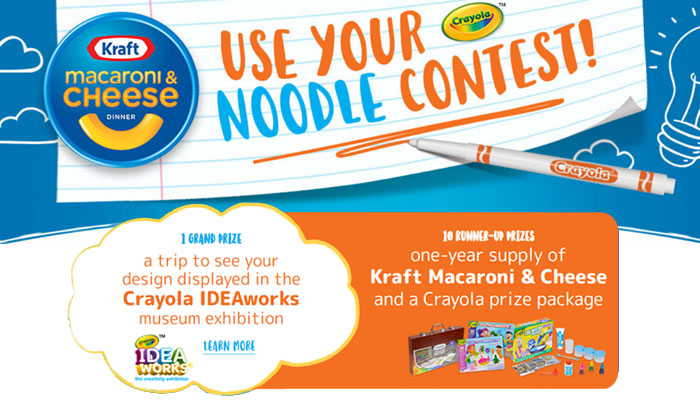 Use your noodle and doodle a design that makes the world smile and you could win a trip to see your design displayed in the Crayola IDEAworks museum exhibition, one-year supply of Kraft Macaroni & Cheese and a Crayola prize package