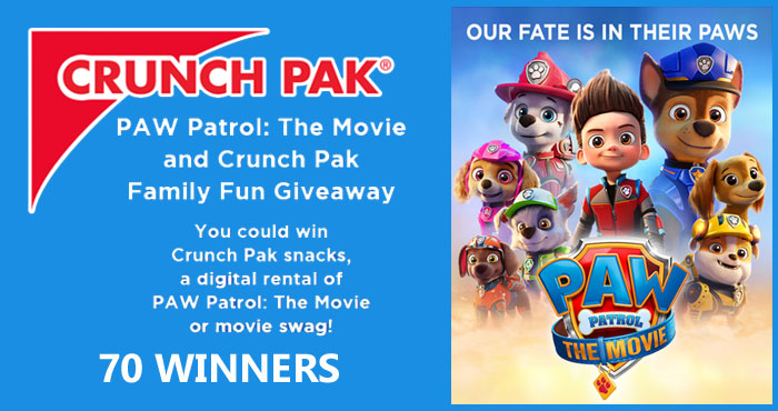 70 WINNERS! Enter the PAW Patrol: The Movie and Crunch Pak Family Fun Giveaway daily and you could win Crunch Pak snacks, a digital rental of PAW Patrol: The Movie or movie swag!