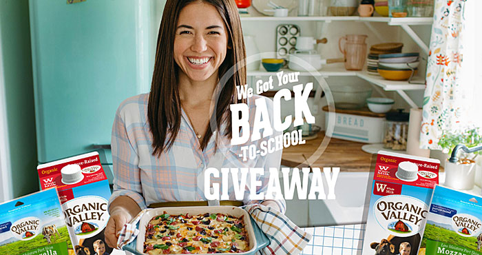 Organic Valley is back with a Back to School giveaway. Enter for a chance to win 1 of 100 school night meal kits that includes everything you need for Food Network star, Molly Yeh's Easy Cheesy Garden Hotdish! Winners will also receive 1 month of Organic Valley products to stock the fridge with yummy back-to-school essentials!
