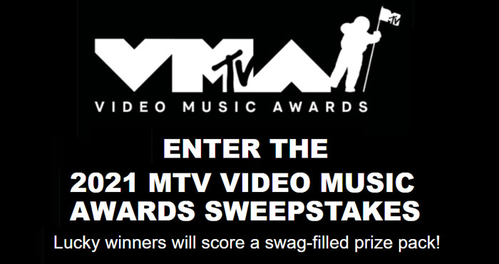 Enter the MTV Video Music 2021 Awards Sweepstakes. Eight Lucky winners will score a swag-filled prize pack! Celebrate one of music's wildest nights and enter for your chance to take home the ultimate swag bag