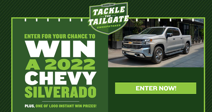 Enter for your chance to win a 2022 Chevy Silverado 1500 LTD valued at over $50,000, PLUS one of 1,000s of other prizes. You can play the Campbell Soup Company Tackle The Tailgate Instant Win Game daily.