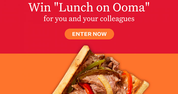 What's better than lunch? Free lunch. As people start to return to the office, Ooma celebrates with a sweepstakes to buy lunch for you and your work colleagues. Up to five winners will each receive one restaurant/Visa gift card with approximate value of $250.
