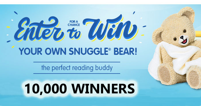 10,000 WINNERS! Enter for your chance to win our very own cuddly Snuggle bear. #giveaway Know anyone else who would love a chance to win a Snuggle Bear? Share this sweepstakes with them too!
