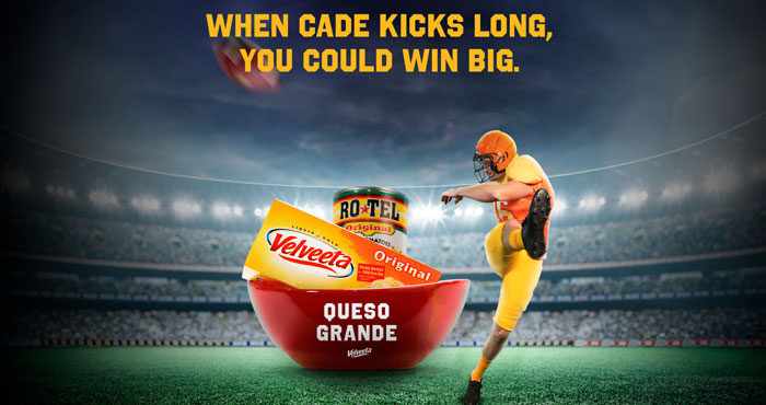 """When Cade York kicks long, you could win BIG! Co-sign the """"Queso Contract"""" by registering online. Every time York attempts a field goal of 50 yards or more, you could win a Velveeta """"Queso Grande"""" prize pack which includes the ingredients to make queso """"all season long"""" - 12 loafs of Velveeta, 12 cans of Rotel, a custom Queso Grande bowl, and a Queso Cade Jersey."""