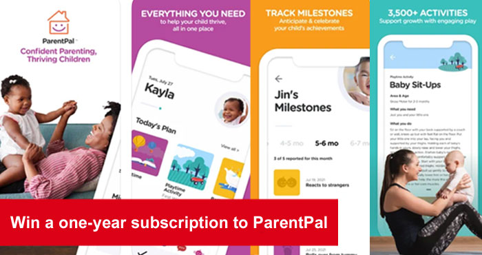 Enter for your chance to win a year subscription to ParentPal. You will find 3,500 age-appropriate activities and daily plans for each child on the ParentPal app. Celebrate & share with Memory Book plus track milestones, sleep, health and more right from your phone.