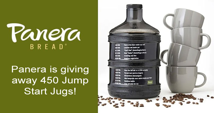 Panera is giving away 450 Jump Start Coffee Jugs! Panera believes National Coffee Day should celebrate those who need coffee the most: parents. To keep these everyday superheroes fueled with unlimited coffee all day long, Panera created the gallon-sized Jump Start Jug – for those days when just one cup of coffee won't cut it.