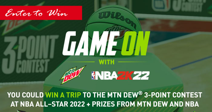 You could win a trip to the MTN DEW 3-point Contest at NBA All-Star 2022 + prizes from MTN Dew and NBA plus weekly prizes and 5,000 in Free NBA 2K22 Virtual Currency (VC) when you enter the first time.