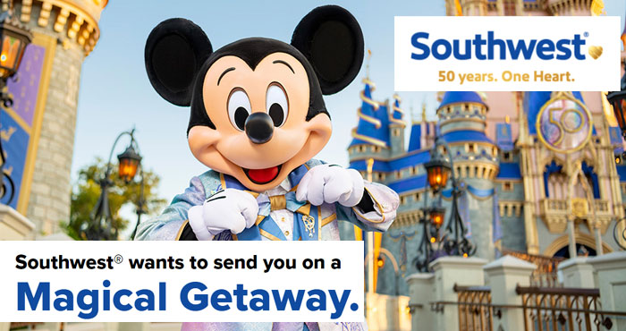 Southwest wants to send you on a Magical Getaway to #Disney! Enter for the chance to win one of 50 vacation packages for you and three guests to discover classic favorites and new experiences at the Walt Disney World® Resort. When you celebrate with us, nothing could be more magical.