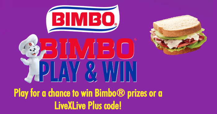 Play the Bimbo Play & Win Instant Win Game daily for your chance to win Bimbo prizes or a LiveXLive Plus code. Prizes range from Bimbo keepsake memorabilia to Bimbo Bread for a year.