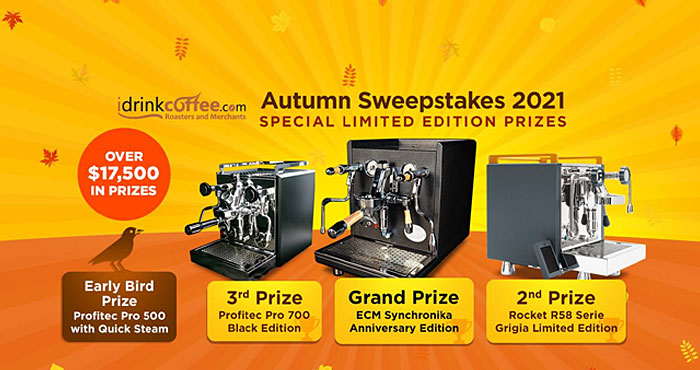 It's the iDrinkCoffee.com Autumn Sweepstakes! Enter for a chance to win a limited edition espresso machine, Including the Grand Prize, an ECM Synchronika 25th Anniversary Edition, or the early bird prize of a Profitec Pro 500 with Quick Steam