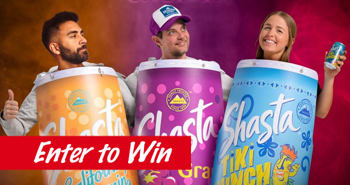 Enter the Halloween Great Shasta Costume Giveaway daily for a chance to win one of 3 iconic Shasta Can Halloween costumes. This Halloween Shasta wants you to have the most flavorful costume on the block. Enter for your chance to WIN a Shasta can costume along with your favorite Shasta soda. Quench your thirst while looking your best this Halloween.