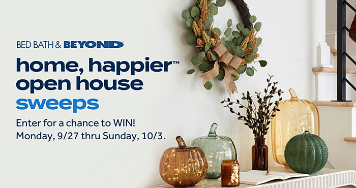 Enter for your chance to win a $5,000 in Bed Bath & Beyond eGift Cards + 3 room designs by Decorist for Bed Bath & Beyond. Four first prize winners will each win a $500 Bed Bath & Beyond eGift Card