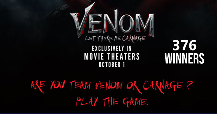 Sony Rewards Venom: Let There Be Carnage Instant Win Game