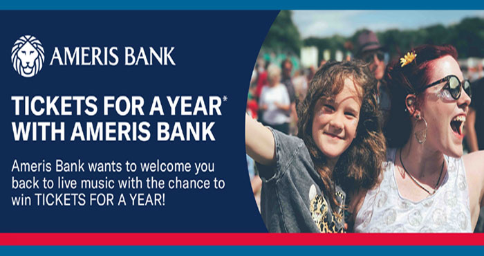Ameris Banks wants to welcome you back to live music with the chance to win #Ticketmaster TICKETS FOR A YEAR! (to be awarded in the form of three $1,000 Ticketmaster gift cards)