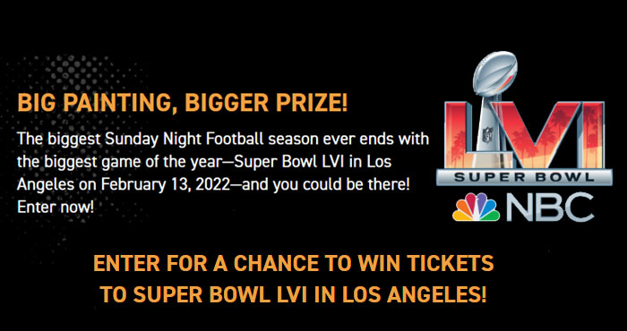 The biggest Sunday Night Football season ever ends with the biggest game of the year, Super Bowl LVI in Los Angeles on February 13, 2022, and you could be there! Enter the NBC Sports Sunday Night Football canVS Super Bowl Sweepstakes now for your chance to win