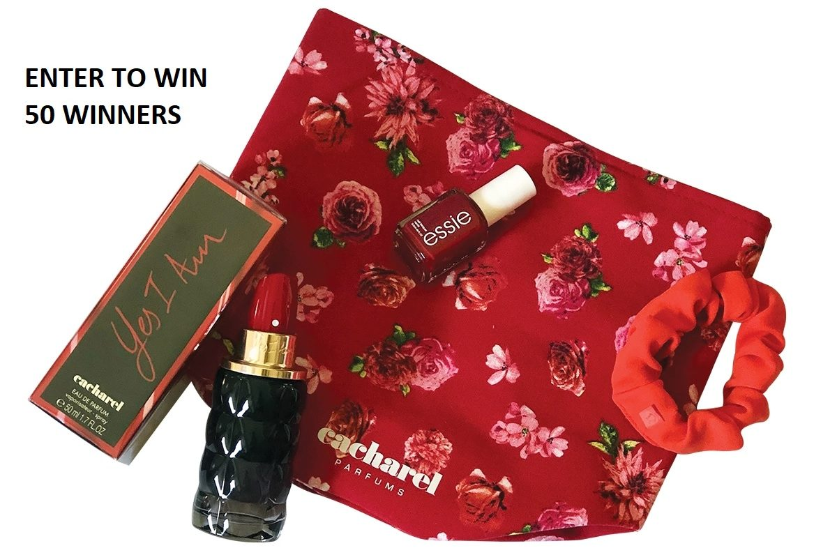 In Touch Magazine is giving the chance to win one of 50 beauty prize packs that include Cacharel Yes I Am perfume with a matching Floral Print Drawstring Bag, Essie Red Nail Polish and a lululemon scrunchie #giveaway