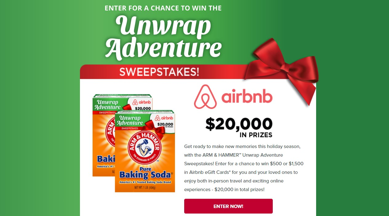 Get ready to make new memories this holiday season, with the ARM & HAMMER™ Unwrap Adventure Sweepstakes! Enter for a chance to win $500 or $1,500 in Airbnb eGift Cards for you and your loved ones to enjoy both in-person travel and exciting online experiences - $20,000 in total prizes!