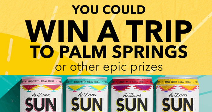 You could WIN a trip to Palm Springs, California or one of 100 other epic prizes from AriZonaSunRise. Play the Arizona Sunrise Palm Springs Flyaway Instant Win Game daily for your chance to win.