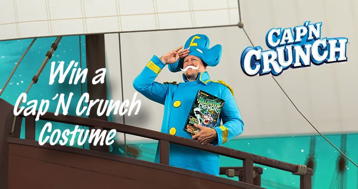 Hey Crunchmates! You can enter for the chance to win this Cap'n Crunch costume & a box of Halloween Crunch! Good luck Mateys! Make sure to use #CapnCrunchHalloween #Sweepstakes to be entered.