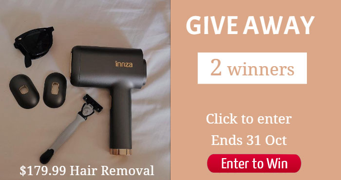 Enter for your chance to win an INNA Beauty IPL Hair Removal Device. The INNZA hair removal device is using advanced IPL technology, the energy directly reaches hair follicles and inhibits the regeneration of hair follicles, achieves ultra-fast permanent hair removal. Two button design, super easy-to-use. Streamlined design for easy grip!