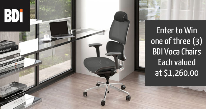 Enter to win a BDI Voca Chairs in Slate finish. Retail value of $1,260.00 USD