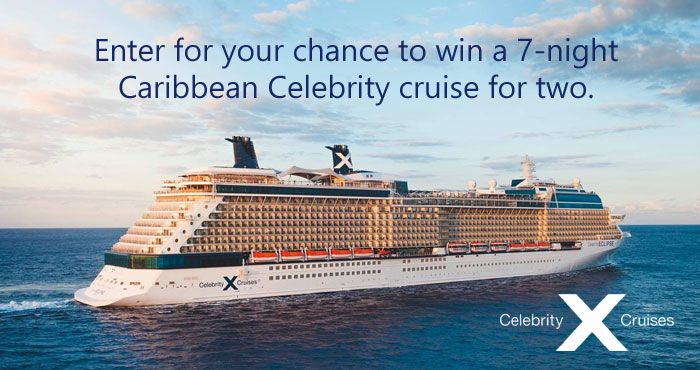 Enter for your chance to win a 7-night #Caribbean Celebrity #cruise for two. Awaken a journey full of wonder and discover the world again. We're back at sea, and it's time to treat yourself to the vacation you deserve. Celebrity Cruiselines visits more than 300 destinations around the world, and our 14 award-winning ships make getting there as unforgettable as being there.