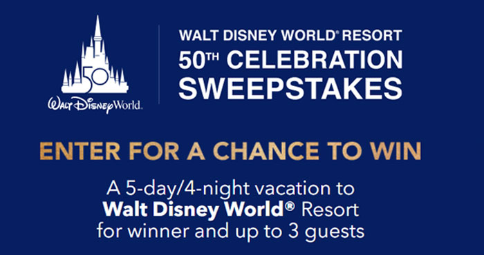 Enter for your chance to win a trip for 4 to Walt Disney World Resort in Orlando, Florida. Get ready for a celebration 50 years in the making. It's the Walt Disney World® Resort 50th Anniversary and when you celebrate with Disney, nothing could be more magical!