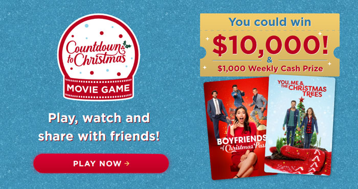 Play the Hallmark Channel's Countdown to Christmas Movie Game, watch the Hallmark Christmas movies and share with friends for your chance to win $1,000 to $10,000 in cash prizes!