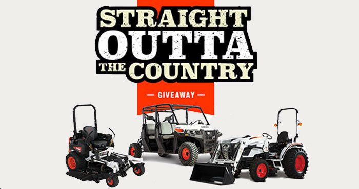 """Enter for a chance to win one of three prizes from Justin Moore & Bobcat Company - a Bobcat compact tractor CT2025 with front end loader, Bobcat utility vehicle UV34XL with a guitar signed by Justin Moore, or Bobcat zero-turn mower ZT6000 (61"""")"""